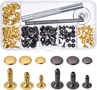480pcs//Set DIY Leather Craft Rivet Double Cap Metal Studs Installation Tool Kit