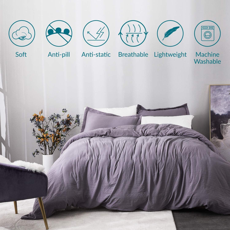 Bedsure Black Duvet Cover Set King Size with Zipper Closure Ultra Soft Comforter Cover Sets 3 Pieces 104X90 inches 1 Duvet Cover + 2 Pillow Shams