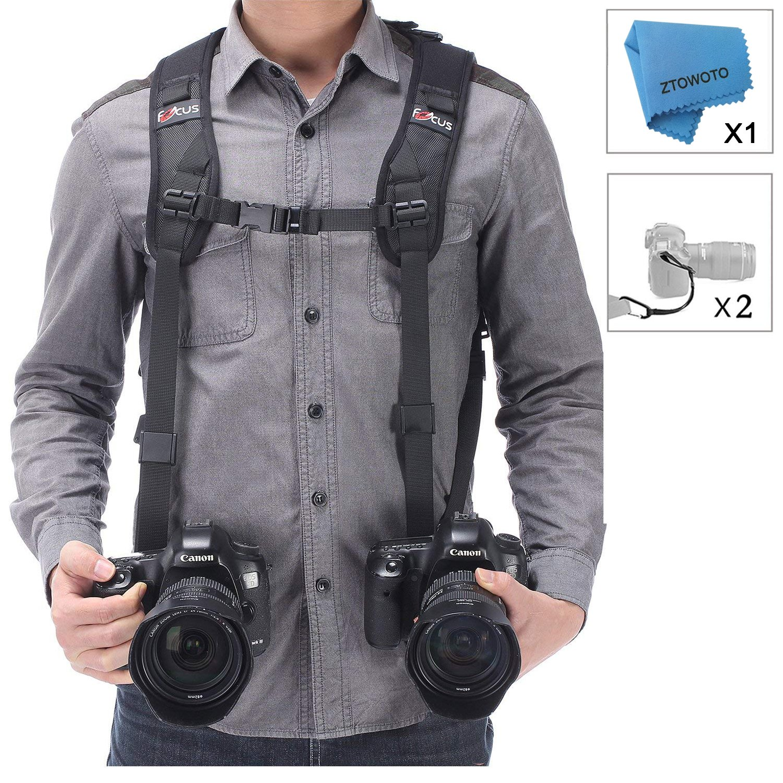 Camera Shoulder Double Strap Harness Quick Release Adjustable Dual Camera Tether Strap and Safety Tether for DSLR SLR Camera (Focus)