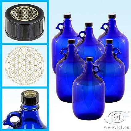 6 x 5 l Globo de cristal botella en azul galón/flor de la Vida