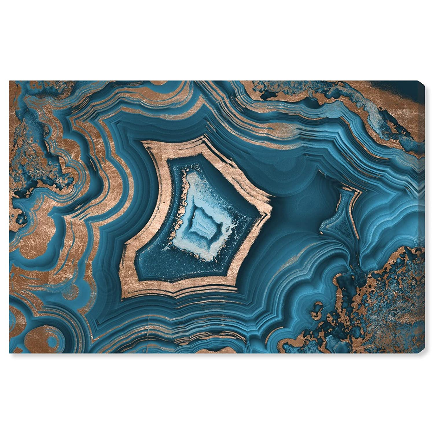 """The Oliver Gal Artist Co. Abstract Wall Art Canvas Prints 'Dreaming About You Geode' Home Décor, 15"""" x 10"""", Blue, Gold"""