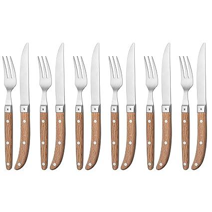 WMF Steack Ranch - Cubertería para carne, 6 cuchillos y 6 tenedores de acero inoxidable