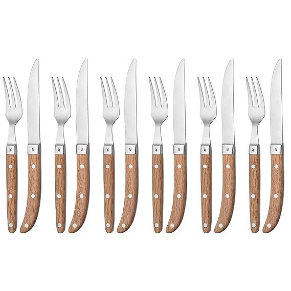 WMF Steack Ranch - Cubertería para carne, 6 cuchillos de acero inoxidable y mango de madera: Amazon.es: Hogar
