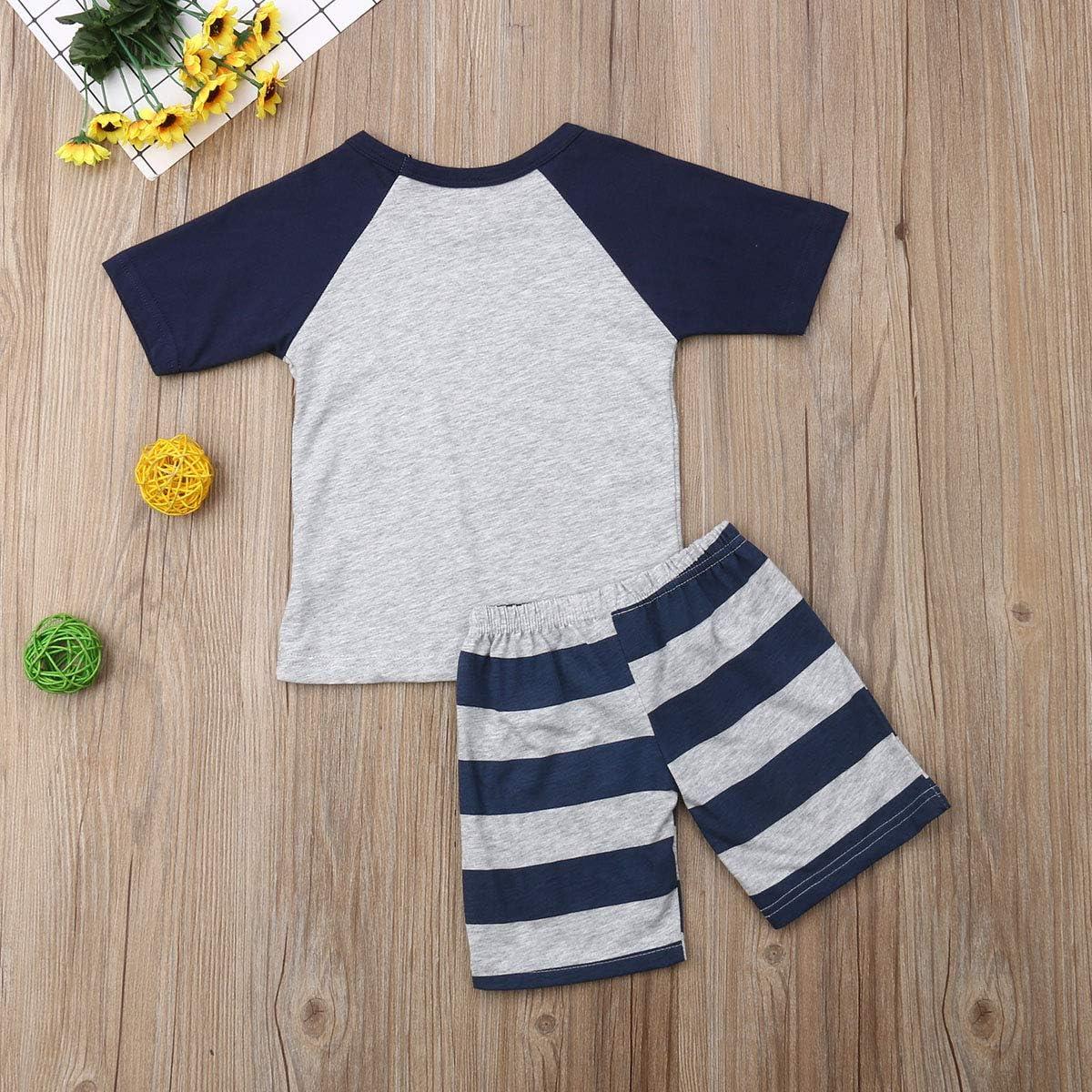 2Pcs Toddler Boy Dinosaur Short Sleeve Grey Splice Tee Top Stripe Shorts Set Summer Outfits
