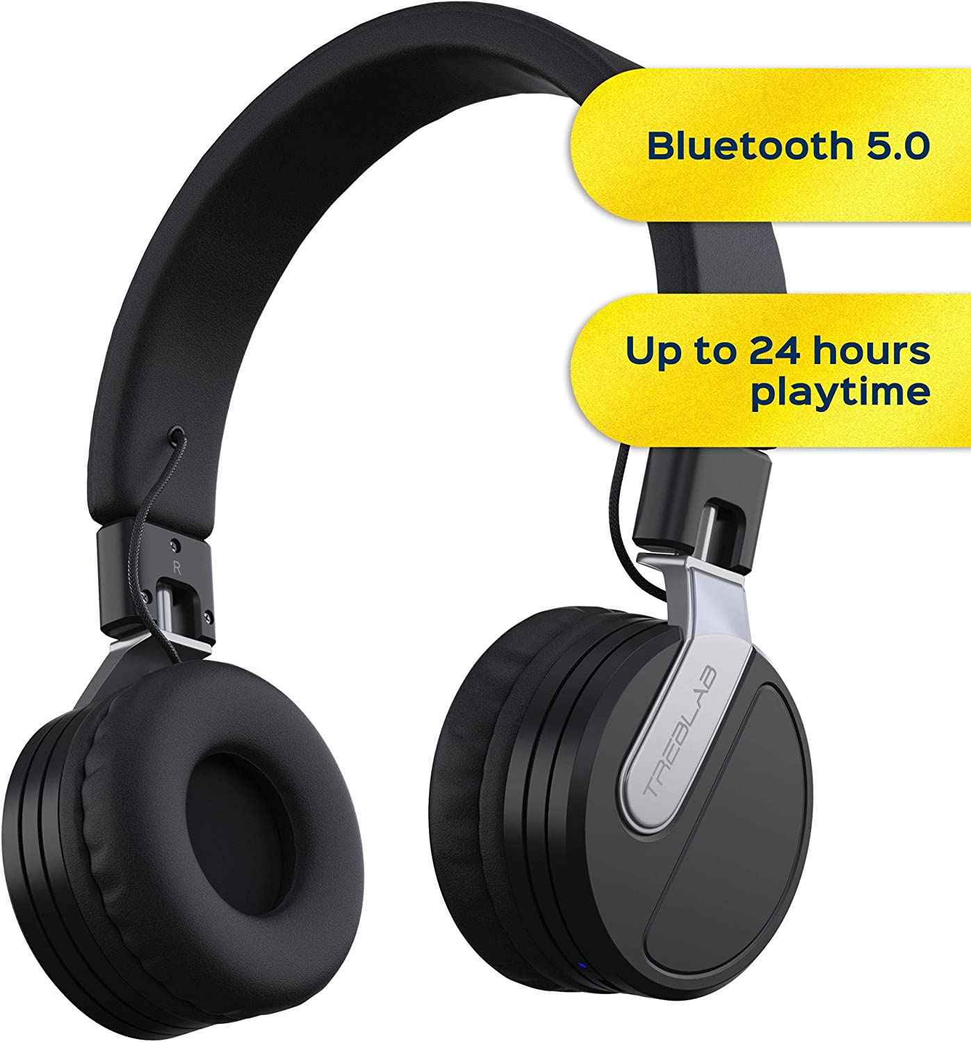 Amazon Com Treblab Bt5 Premium On Ear Wireless Headphones High Intensity Hd Sound W Bluetooth 5 0 Over Ear Microphone Waterproof Ipx4 For Sports Workout Travel Work 24h Play Passive Noise Cancelling Home Audio Theater