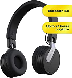 TREBLAB BT5 - Premium On-Ear Wireless Headphones - High-Intensity HD Sound w/Bluetooth 5.0 Over-Ear Microphone, Waterproof IPX4 for Sports Workout, Travel, Work. 24H Play, Passive Noise Cancelling