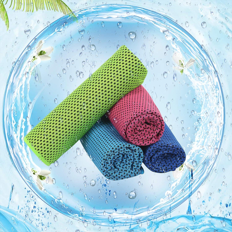LAITER 4 Pcs Serviettes de Refroidissement S/échage Rapide Serviette Rafra/îchissante Instantan/ée de Sport en Microfibre pour Fitness Gym Ultra-Absorbante