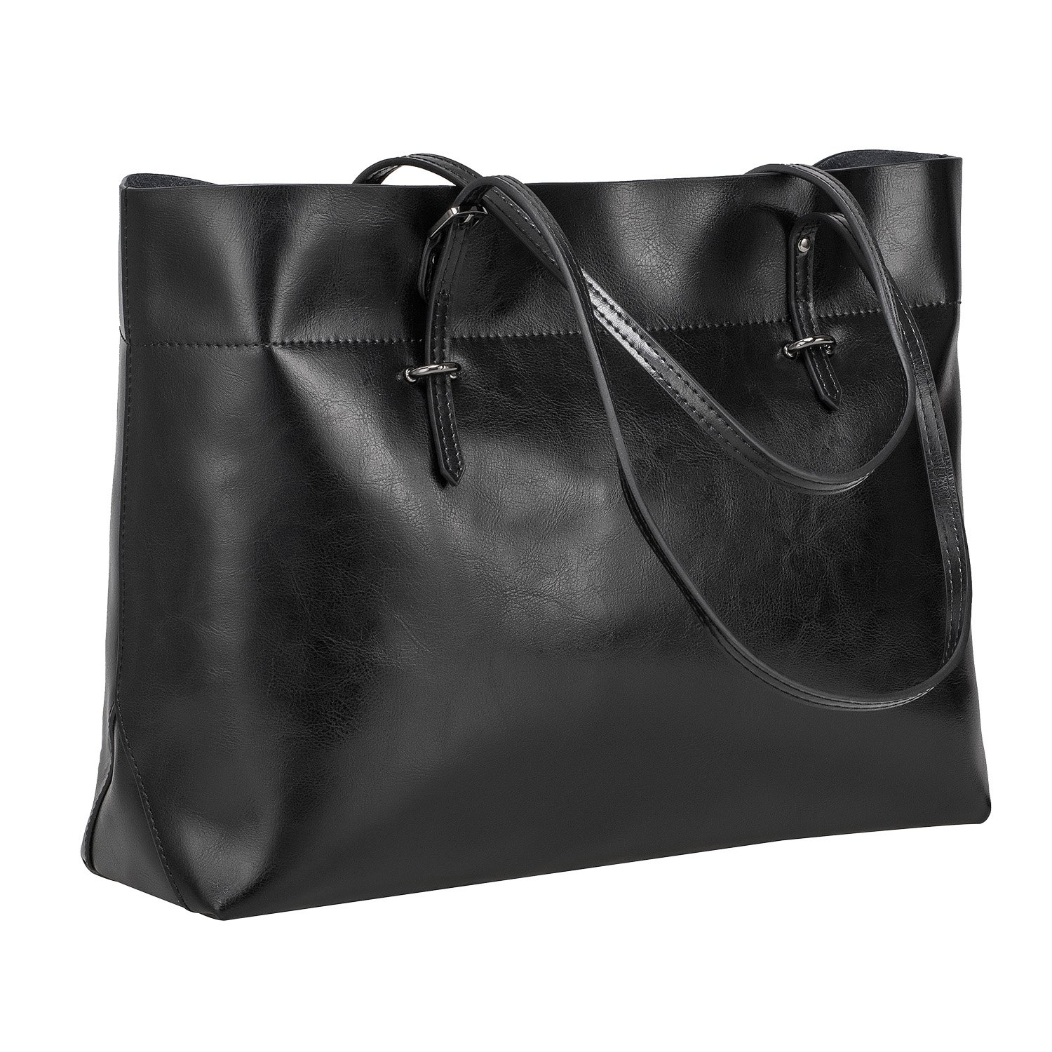 S-ZONE Women's Vintage Genuine Leather Tote Shoulder Bag Handbag Upgraded Version (Black)