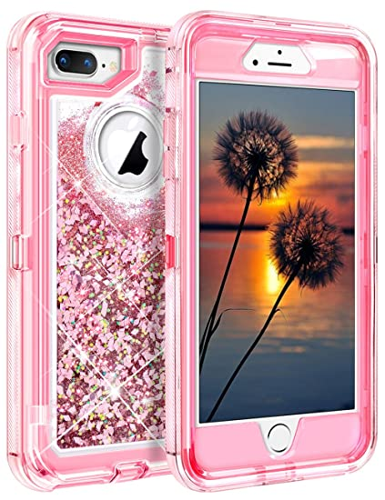 252012fd86 Coolden Shining Liquid Glitter Case for iPhone 8 Plus, Girls Bling Sparkle  Heavy Duty Protective