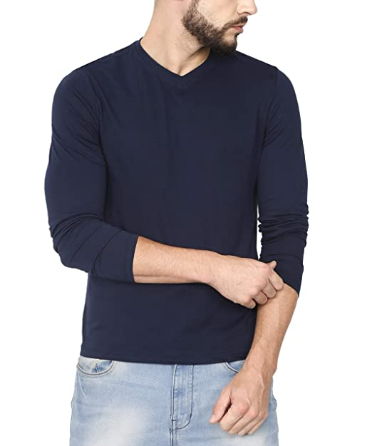 a17766c85af Urba Classics Men s Cotton V Neck Plain Navy Blue Full Sleeves T Shirt (UC1093S