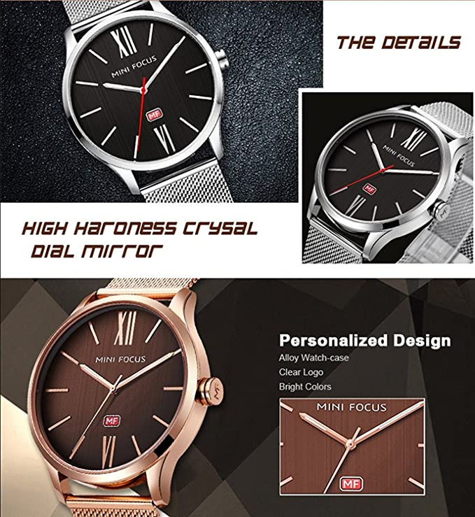 Amazon.com: MINI FOCUS Mens Ultra Thin Mesh Band Stainless Steel Watches Male Elite Sports Wrist Watch (Gold): Watches