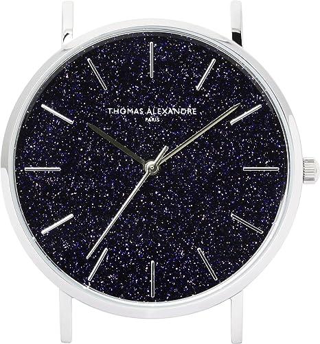 [Thomas Alexandre] Reloj de piedra natural azul Goldstone France Minimal diseño Hombre/Mujer: Amazon.es: Relojes