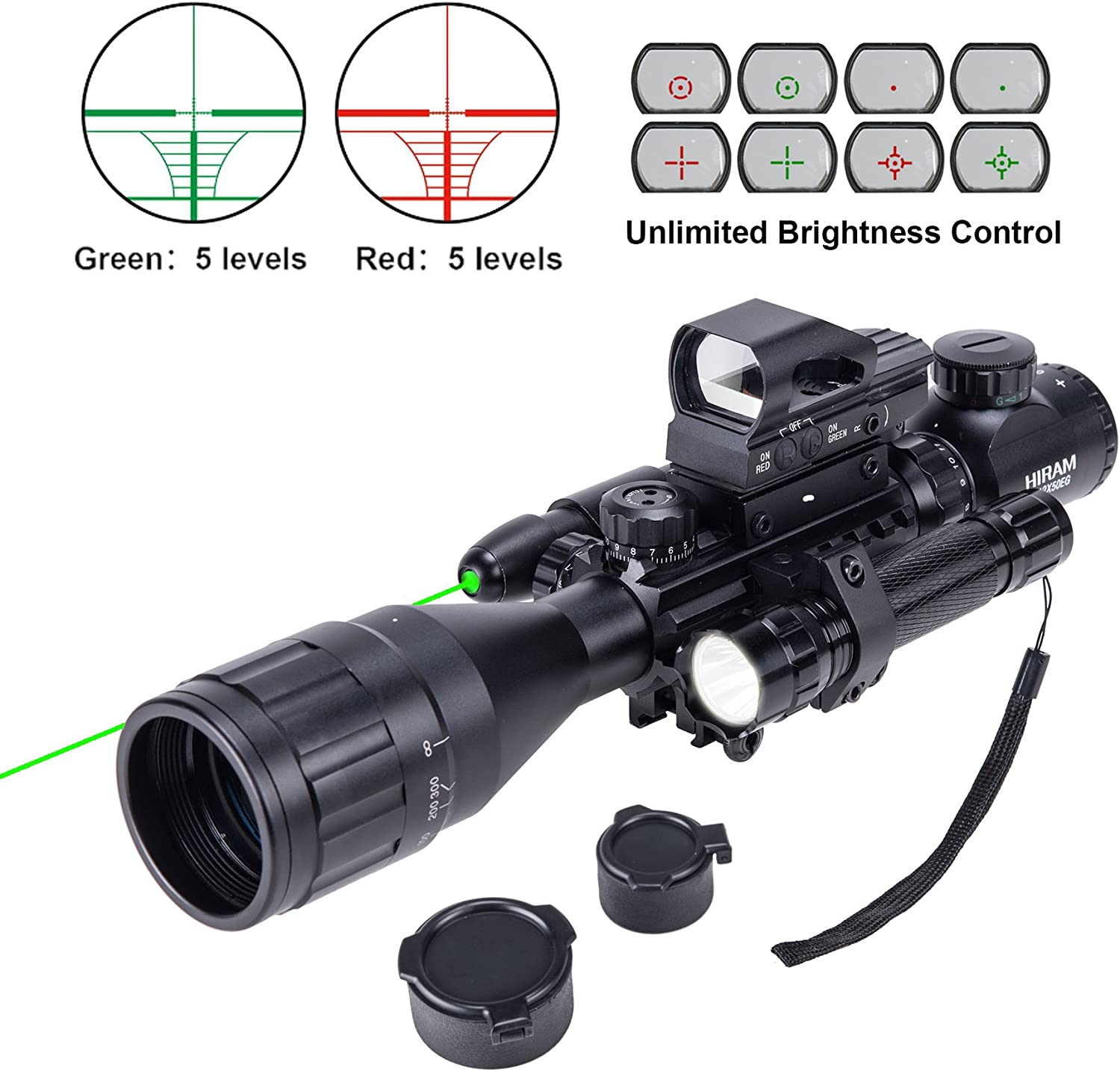 HIRAM 4-16×50 AO Rifle Scope Combo with Green Laser, Reflex Sight, and 5 Brightness Modes Flashlight