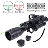 HIRAM 4-16x50 AO Rifle Scope Combo with Green Laser