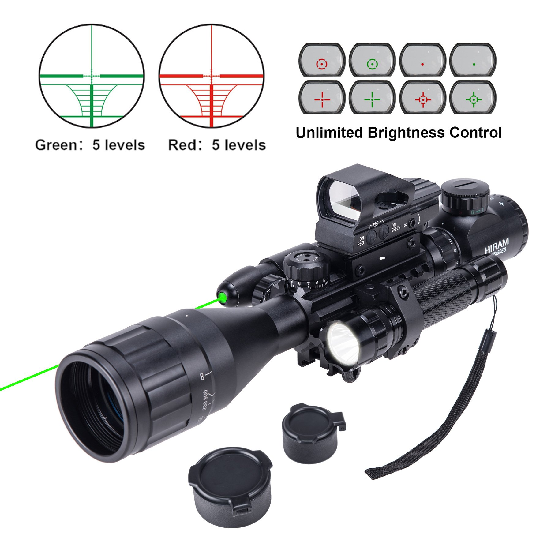 Hiram Parallax Adjustable 4-16x50EG Rifle Scope Combo with Green Laser, Reflex Sight, and 5 Brightness Modes Flashlight