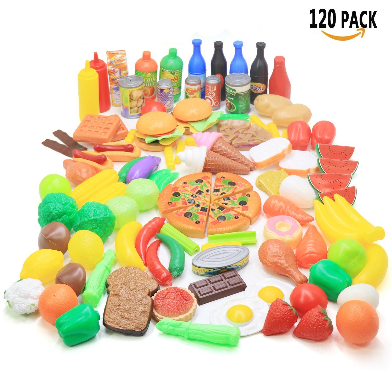 Jouet Cuisine pour Enfant 120 PCS Hamburger aux Fruits et L/égumes pour l/éducation des Enfants