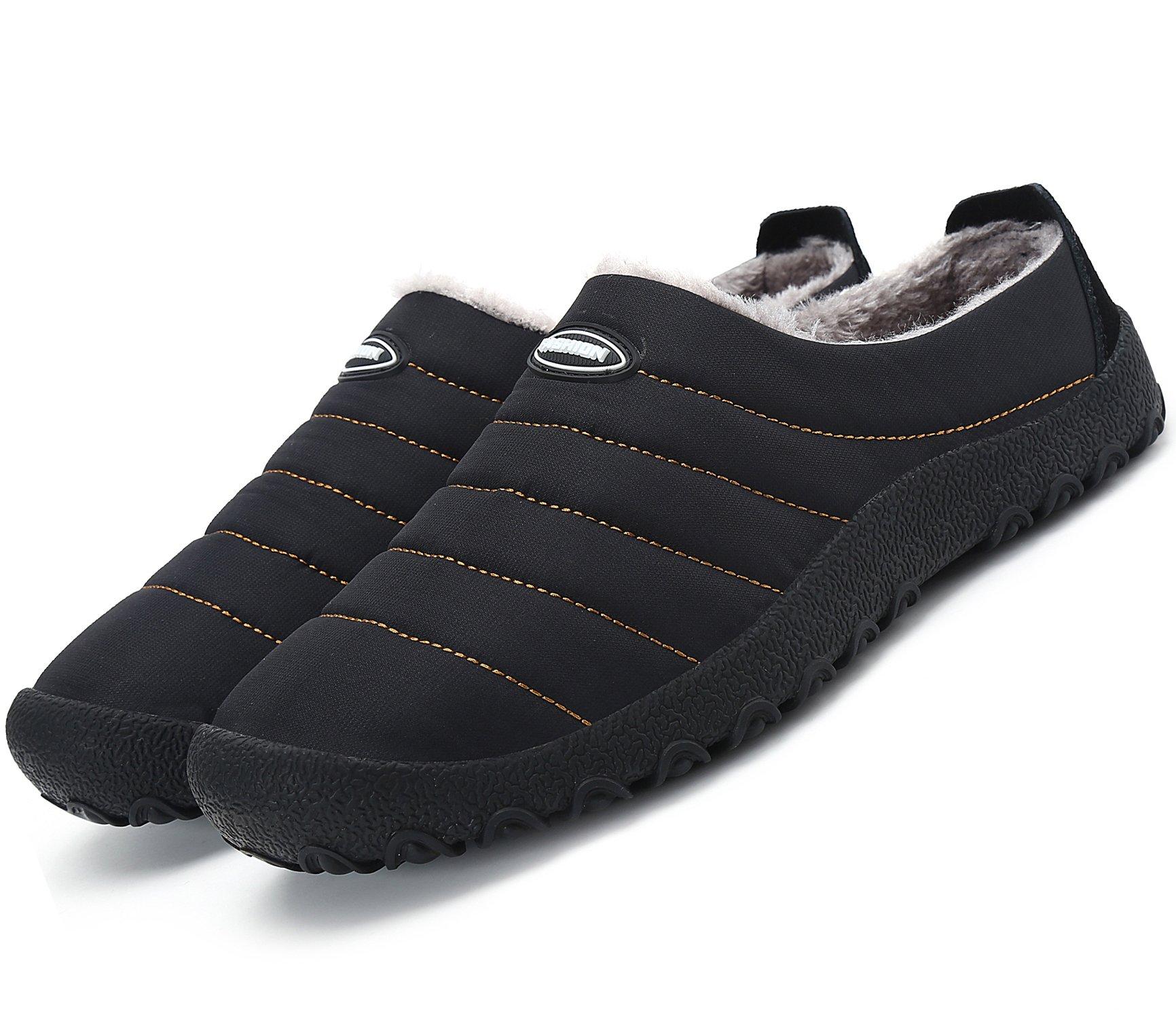 welltree Women Men Indoor Outdoor Slippers Fur Lined Winter Waterproof Clog House Shoes Black 5.5 US Men/7.5 US Women/38