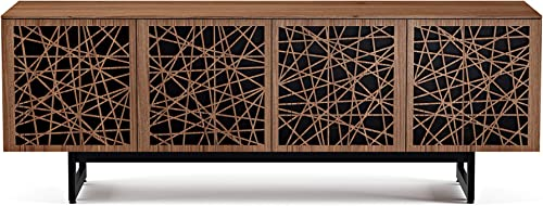 BDI Elements Quad Cabinet with Media Base, Ricochet Doors, Natural Walnut
