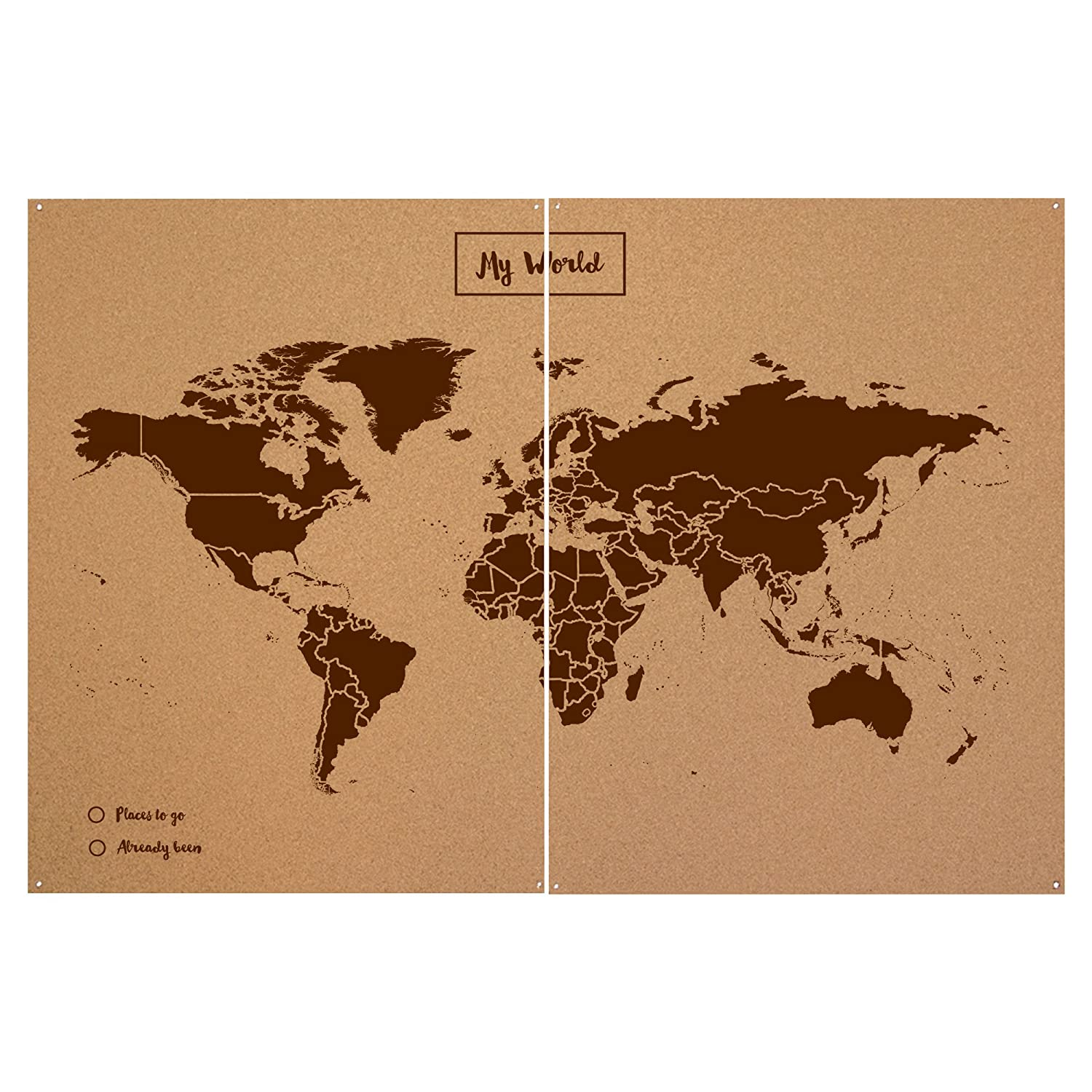 miss wood woody map xxl map of the world with my world design made of cork brown amazoncouk kitchen home