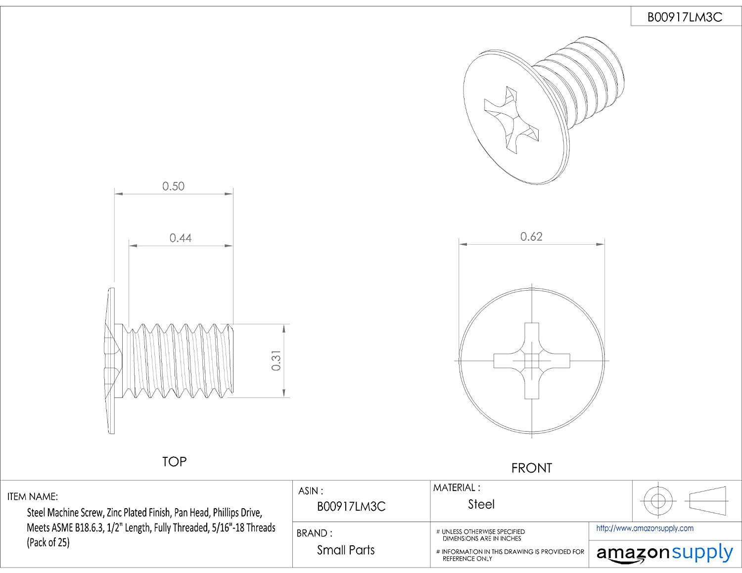 Small Parts 587663-P1 Pack of 50 1//4-20 UNC Threads Pack of 50 2 Length Zinc Plated Finish Steel Machine Screw 2 Length 1//4-20 UNC Threads Fully Threaded Pan Head Meets ASME B18.6.3 Phillips Drive