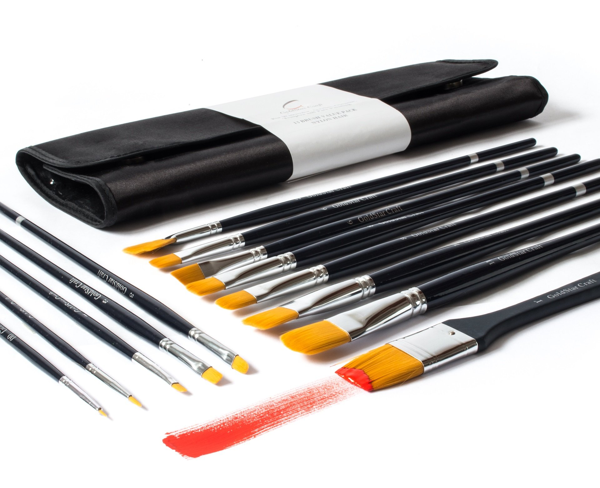 GoldStar Craft No Shedding 13pcs Paint Brush Set - Acrylic Face Painting & Watercolor Brushes that Hold their Shape! Best Artist Paintbrushes with Balanced Long Handle - Included Elegant Travel Case