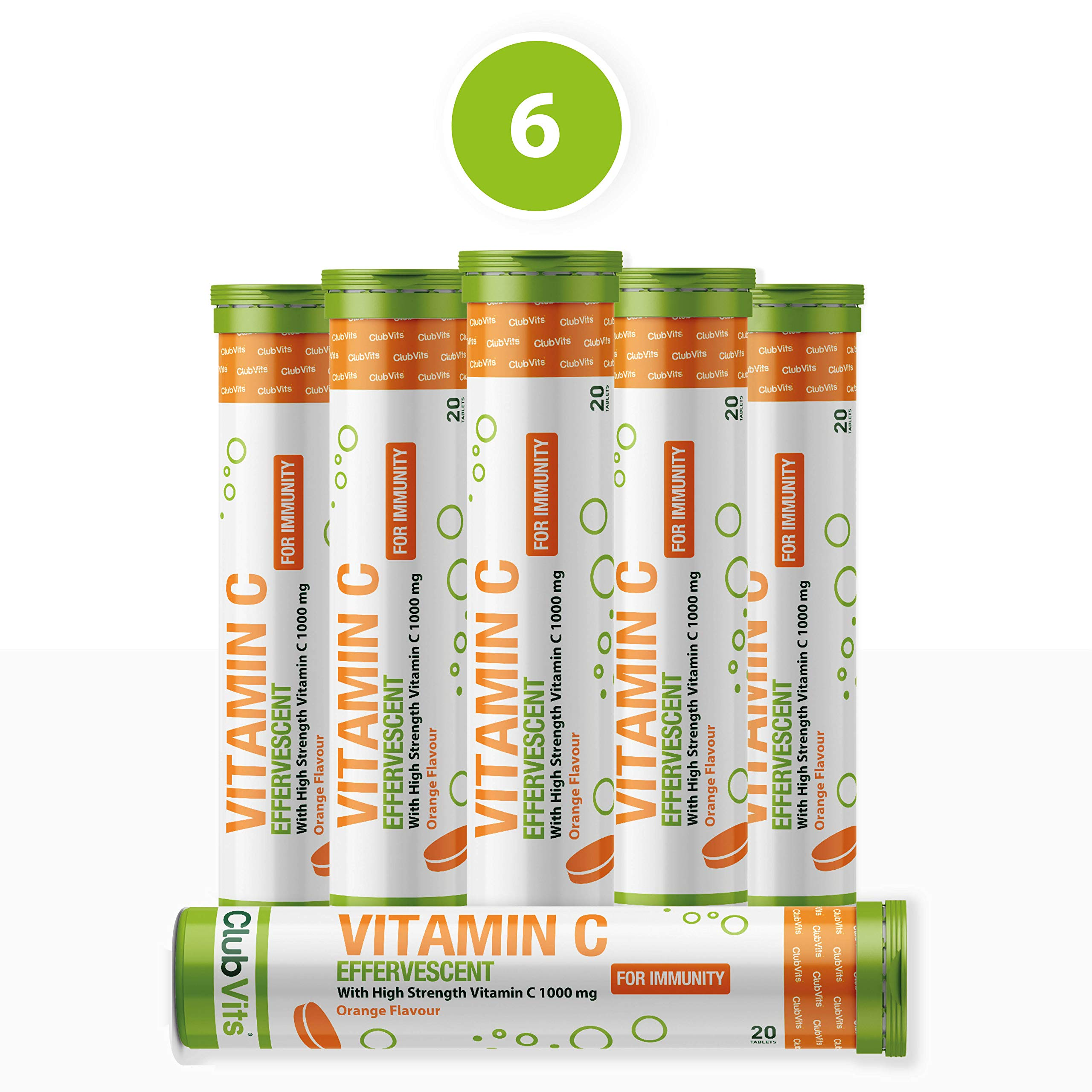 Vitamin C 1000mg 120 Effervescent Orange Flavoured Tablets   High Strength   Supports Immune Health & Colds   20 x 6 Tubes by Club Vits