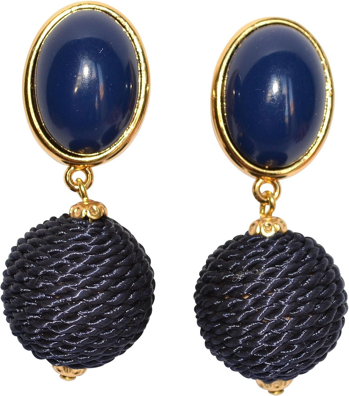 Pendientes de clip de color azul oscuro, muy ligeros, dorados, con piedras azules, colgante, con cordones, modernos, glamurosos, de JUSTWIN