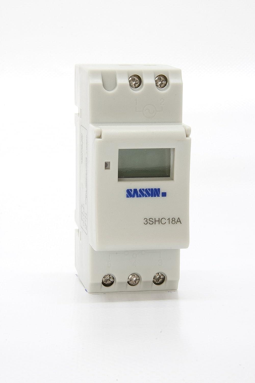 Sassin Electric - Interruptor horario modular digital semanal 2 módulos 23V C/RESERVA 5 AÑOS: Amazon.es: Electrónica