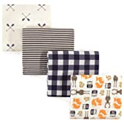 Hudson Baby 4 Piece Flannel Receiving Blanket, Forest, One Size