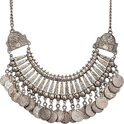 Black Boho Necklace Beaded Gypsy Necklace Tassel Necklace Statement Necklace