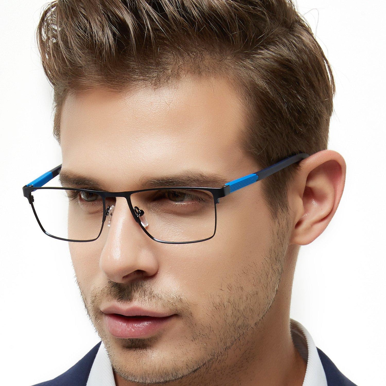 OCCI CHIARI Mens Rectangle Full-Rim Metal Black Non-Prescription Clear Optical Glasses