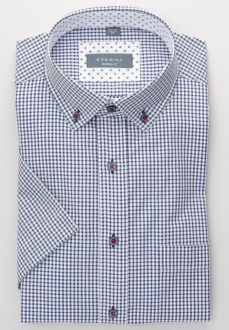 Eterna - Comfort Fit - Seersucker Herren Kurzarm Hemd mit Button-Down Kragen  (2255 K244), Farbe Blau (18), Größe 49 50(4XL)  Amazon.de  Bekleidung f9fd5b8196