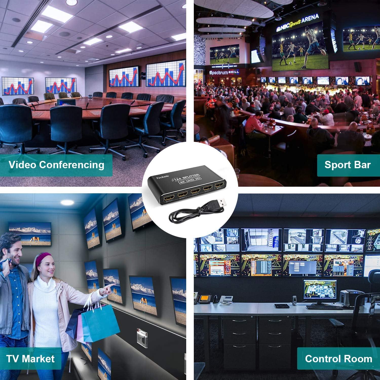 Divisor HDMI para Xbox 4K DVD PS4 HDMI Splitter 1x4 Techole Splitter HDMI 4K DVR 1080P Aluminio Duplicador HDMI 1 Entrada 4 Salidas Soporta HDCP BLU-Ray PS3 UHD 3D HDTV Firestick