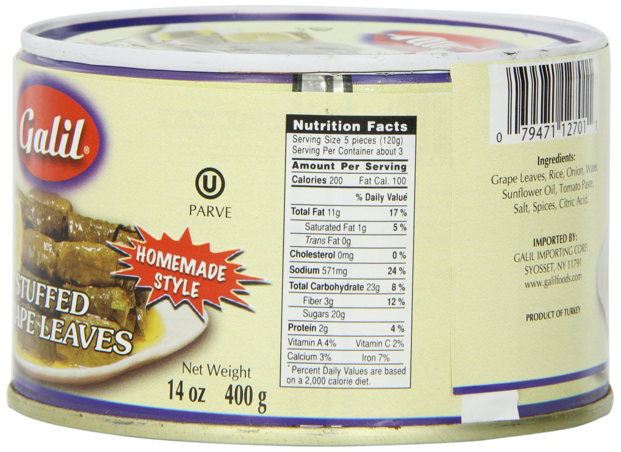 Galil Stuffed Grape Leaves Non-GMO, 14-Ounce Cans (Pack of 12) by Galil (Image #1)