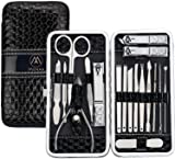 Nail Clippers Set Manicure Pedicure Kit - Stainless Steel 18 in 1 Portable Travel Grooming Kit-Facial and Nail Care Tools for Men and Women
