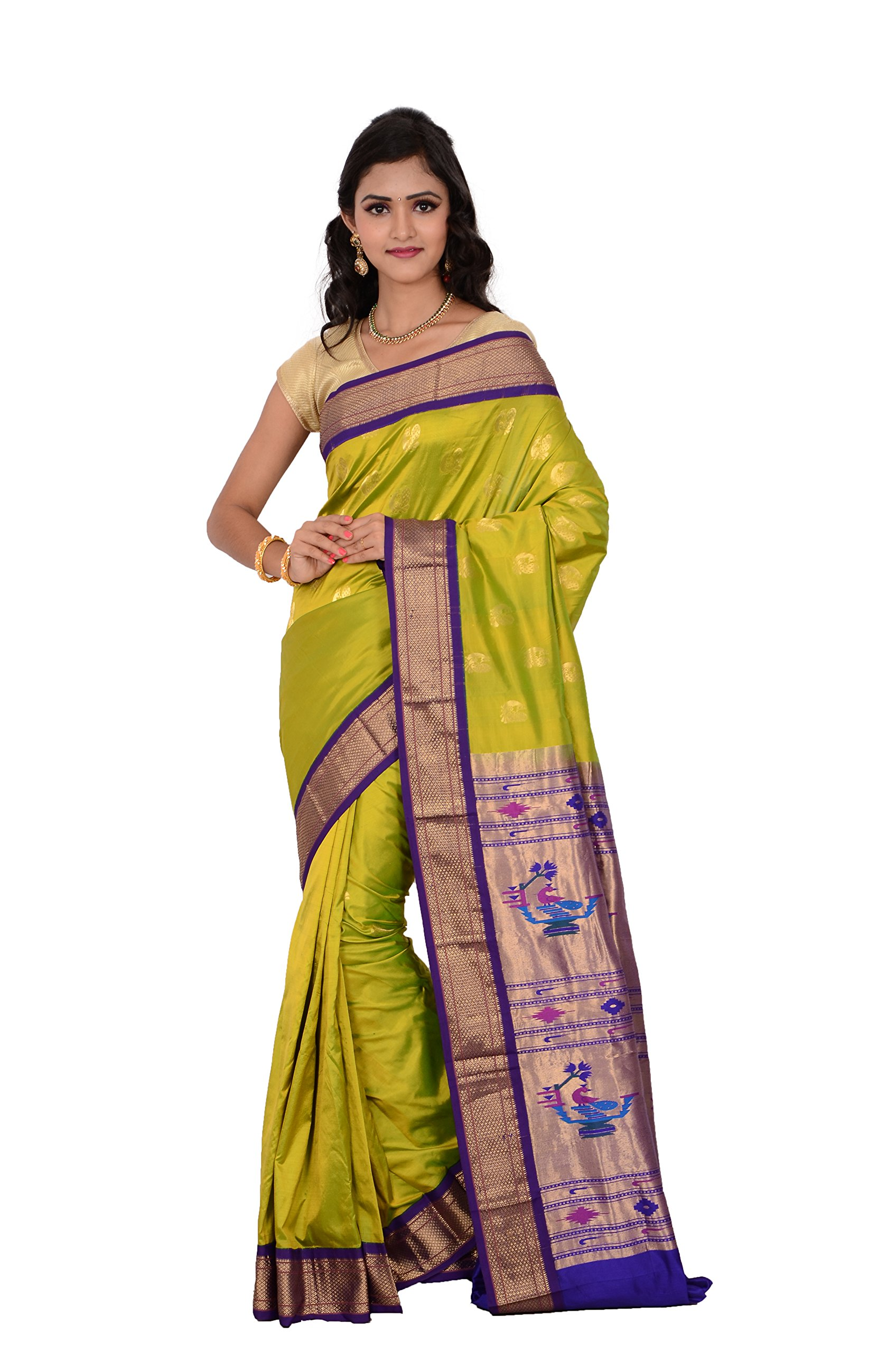 Indian Silks Peacock Design Paithani Handloom Pure Silk Saree, With Unstitched Blouse Piece (Light_Green)
