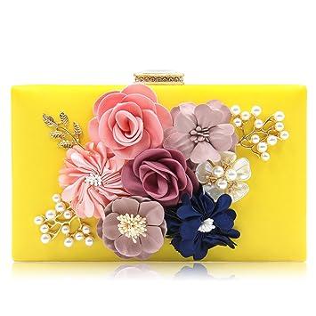 1b31a7724dd5b Milisente Damen Clutch Tasche Blumen Abendtasche Hochzeit Bag Elegante  Handtasche (Gelb)