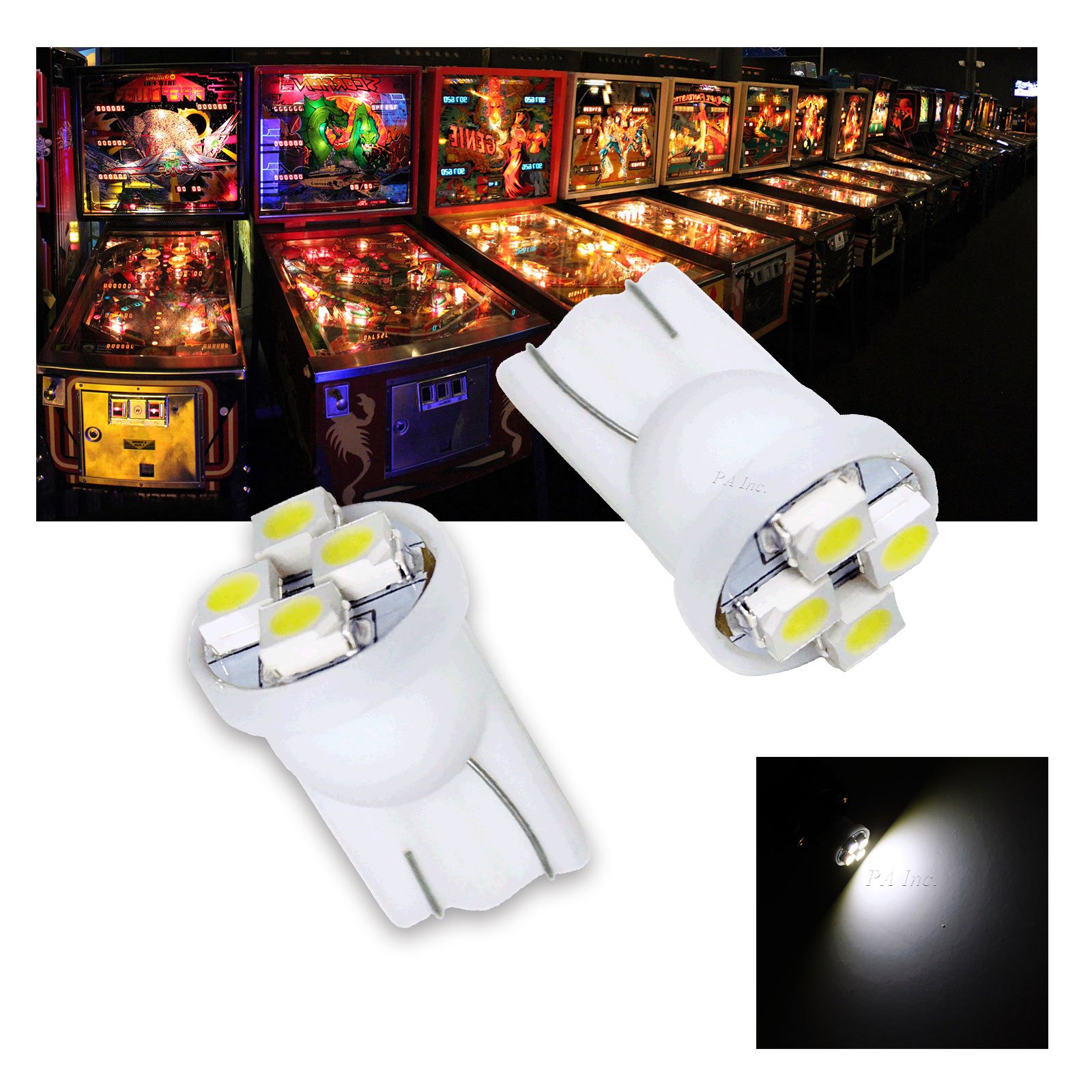 PA 10PCS #555 T10 4SMD LED Wedge Pinball Machine Light Bulb White-6.3V