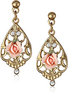 product image for 1928 Jewelry Gold-Tone Color Porcelain Rose with Crystal Accent Filigree Drop Earrings
