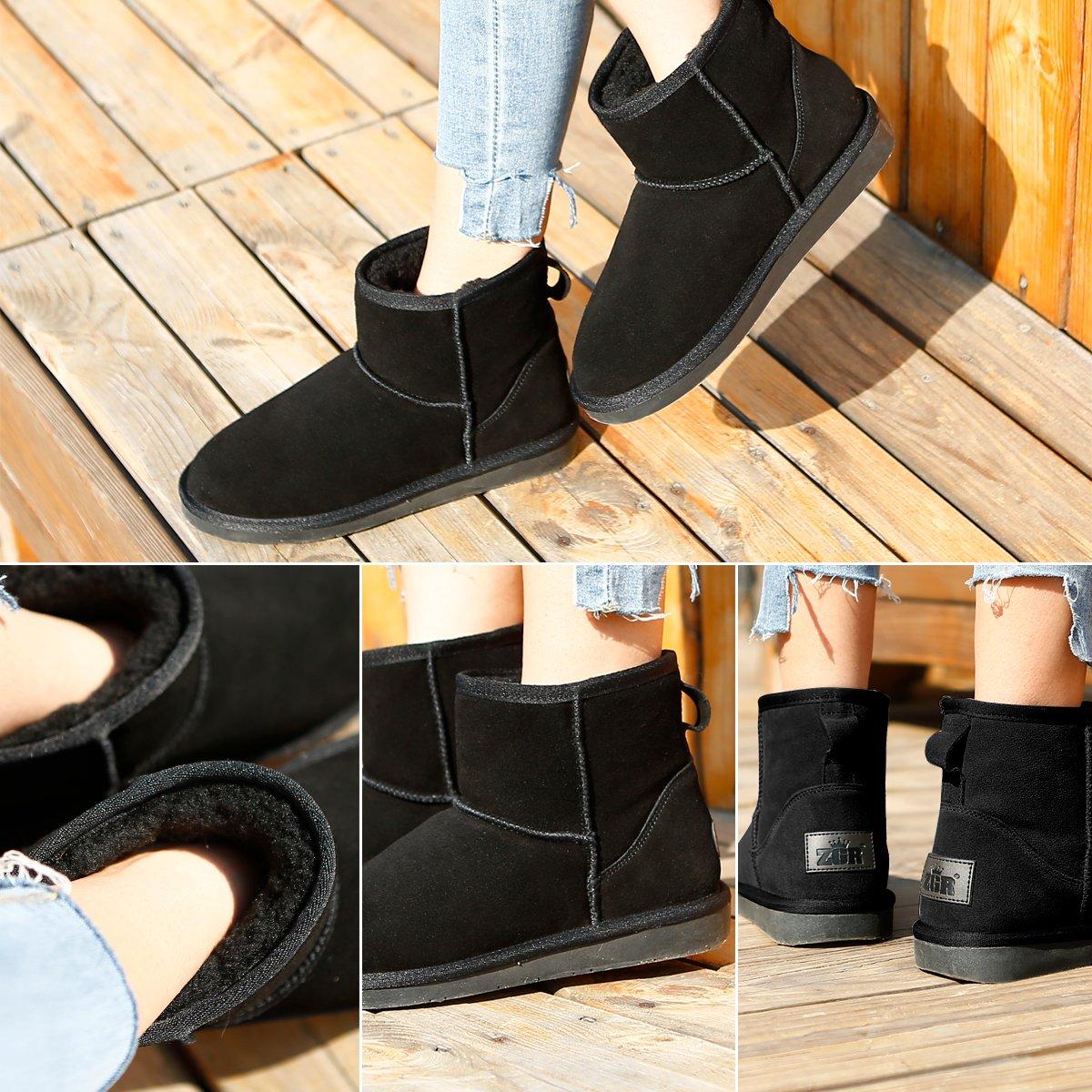 0b4ebc48f Amazon.com | ZGR Womens Short Snow Boots, Winter Fur Lined Ankle ...