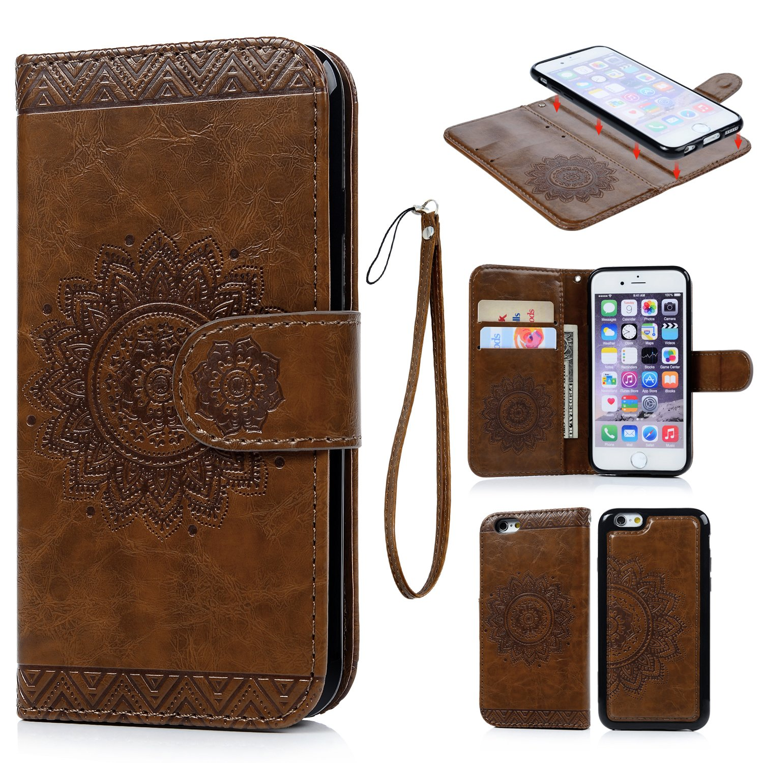 iPhone Funda Libro Suave Leather con Tapa iPhone s Carcasa de Cuero