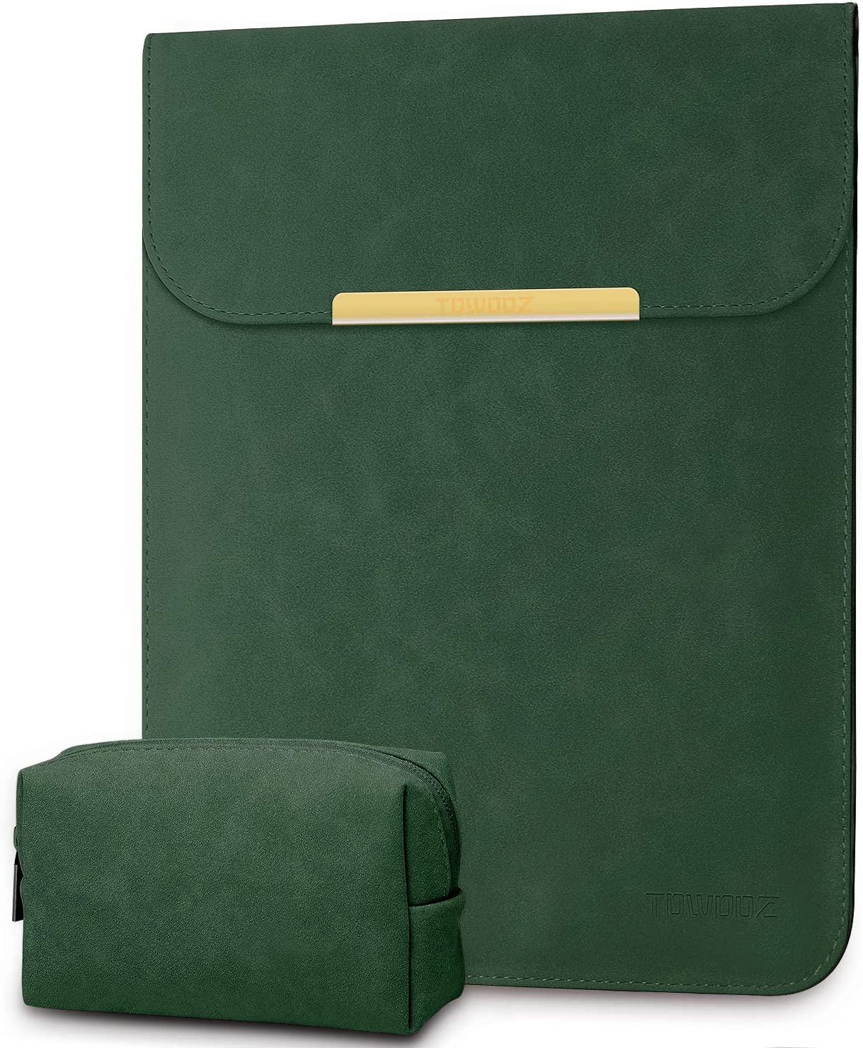 TOWOOZ Laptop Sleeve Case Compatible with 13-13.3 Inch MacBook Pro/MacBook Air 2016-2020 /iPad Pro 12.9 / Dell XPS 13/ Surface Pro X (Dark Green)