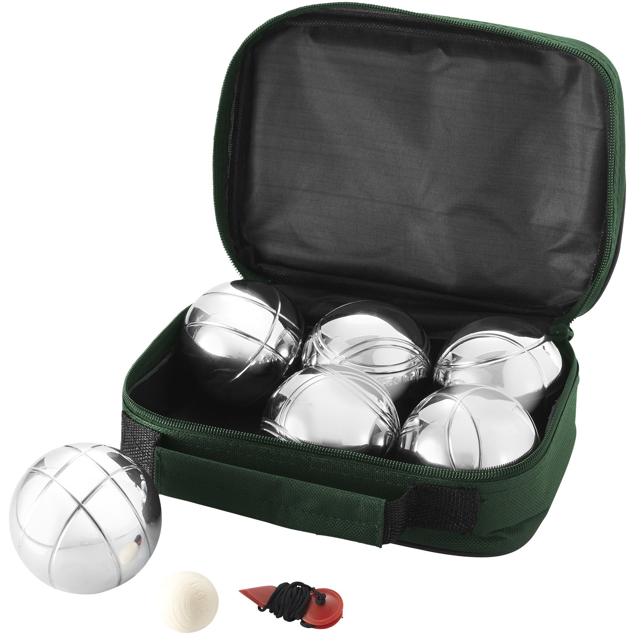 Bullet Henri 6-Ball Petanque Set (Pack of 2) (9.3 x 7.1 x 3 inches) (Green/Silver)