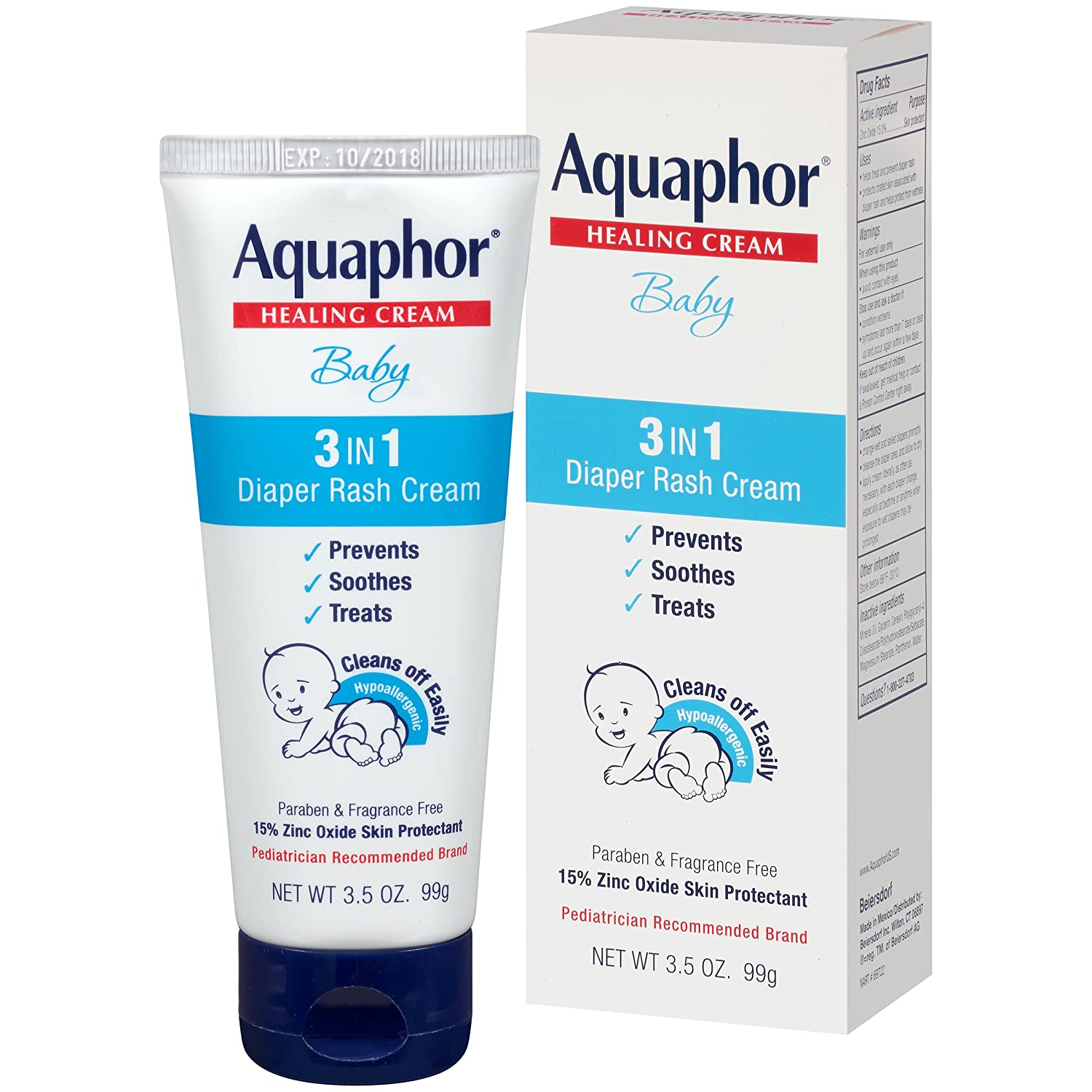 Aquaphor Baby Diaper Rash Cream 3.5 Ounce (Pack of 3) 233498
