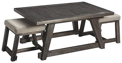 Amazoncom Ashley Furniture Signature Design Harpoli Contemporary - Ashley furniture coffee table with stools