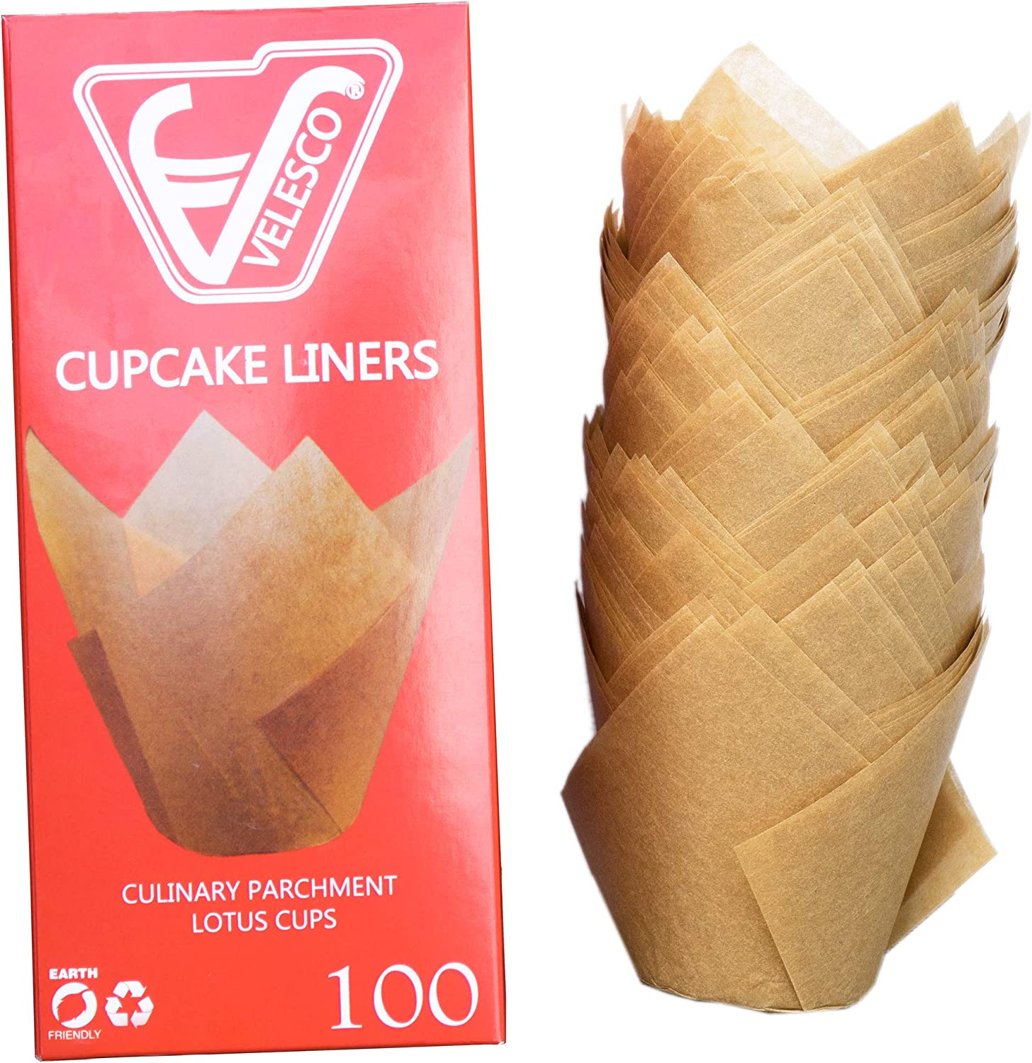 Baking Paper Cups Cupcake Muffin Liners Wrappers unbleached and chemical free by Velesco Tulip shaped