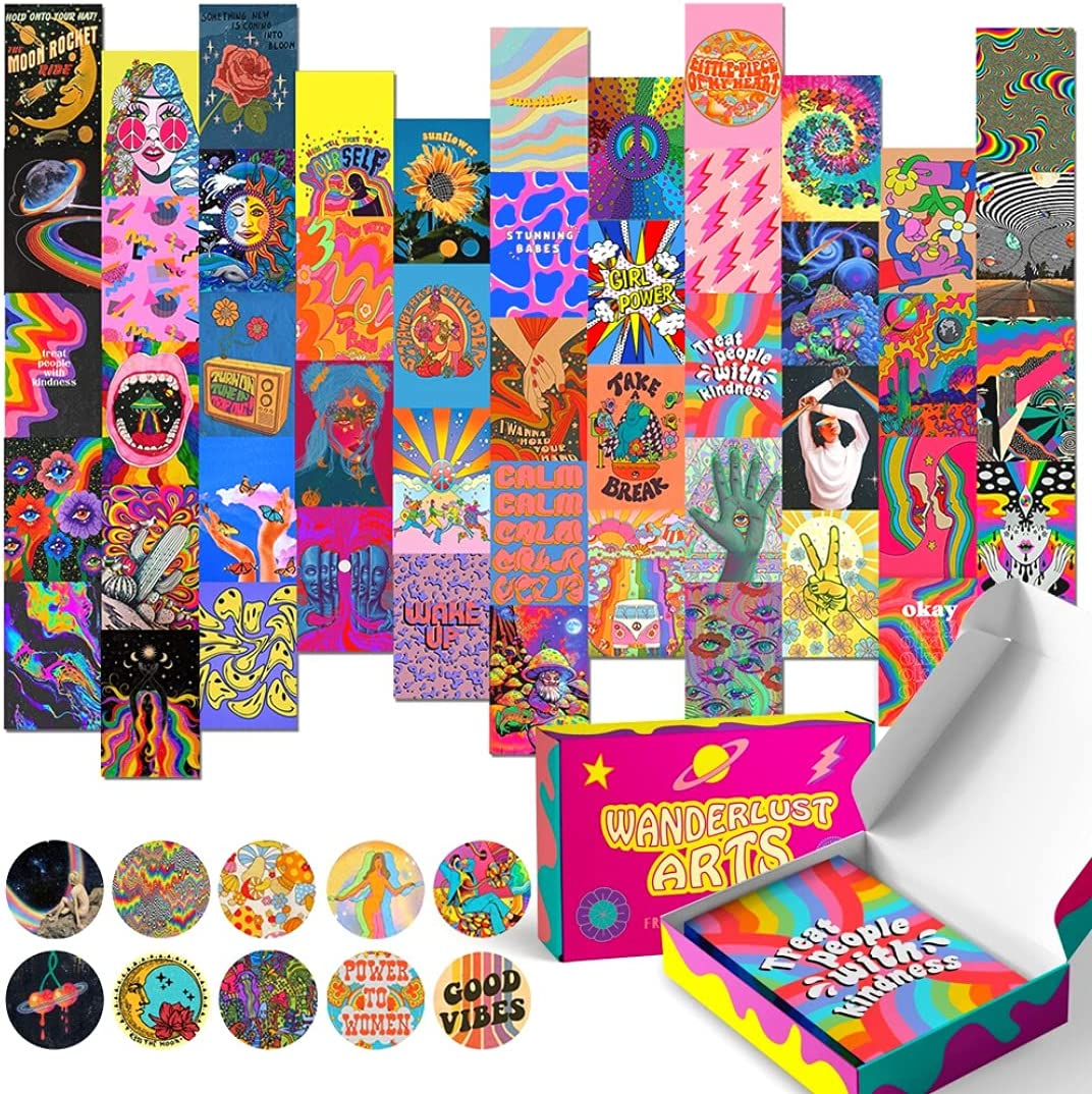 Wanderlust Arts - Wall Collage Kit - Indie Room Decor - Aesthetic Photos for Teen - Retro Posters for Bedroom - 4 x 6