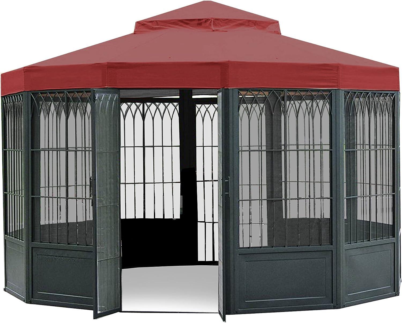 Garden Winds Replacement Canopy Top Cover for SAMS Club Sunhouse Gazebo – Riplock 350 – Cinnabar