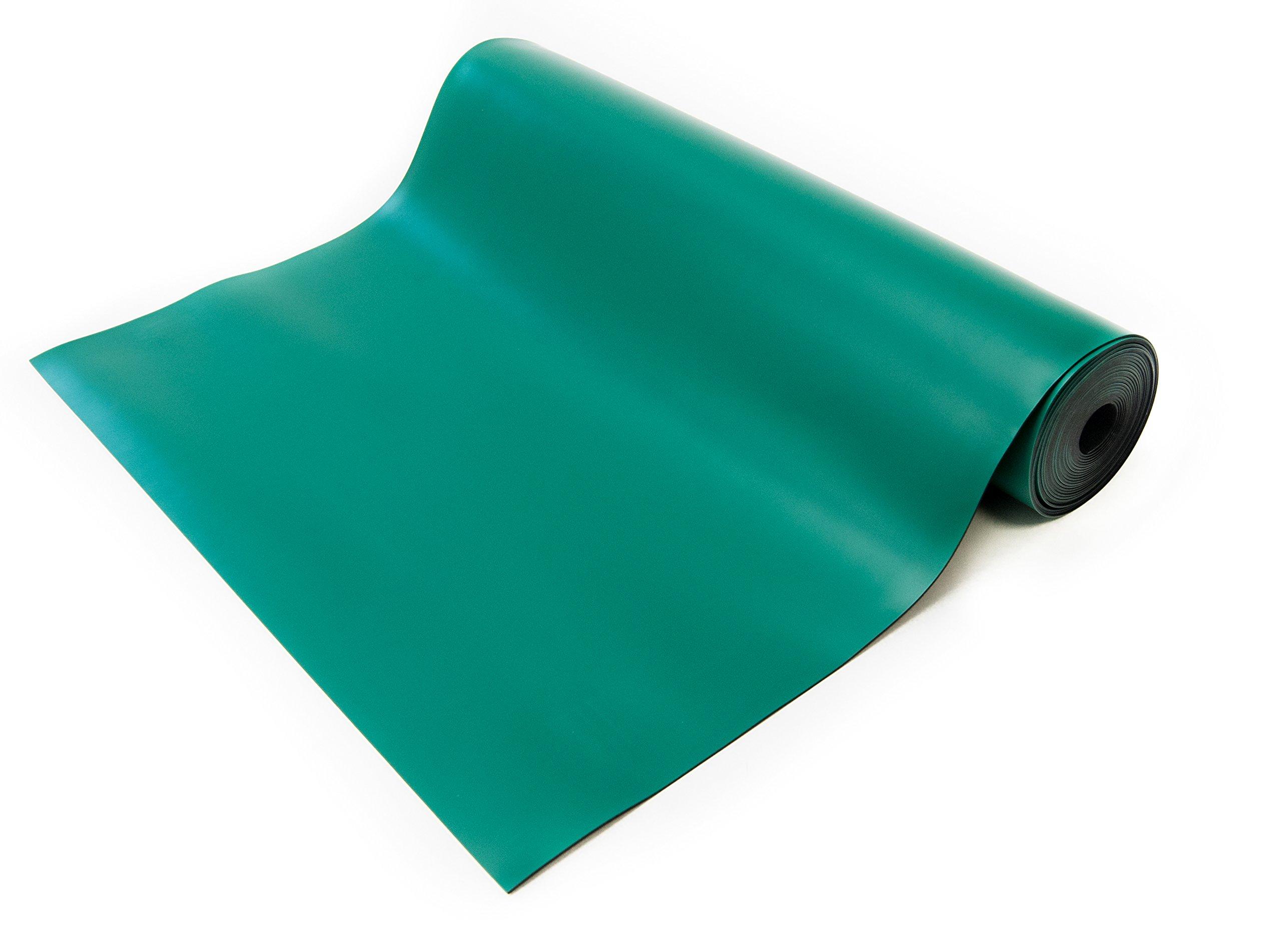 Bertech ESD High Temperature Rubber Mat Roll 2' Wide x 10' Long x 0.08'' Thick, Green