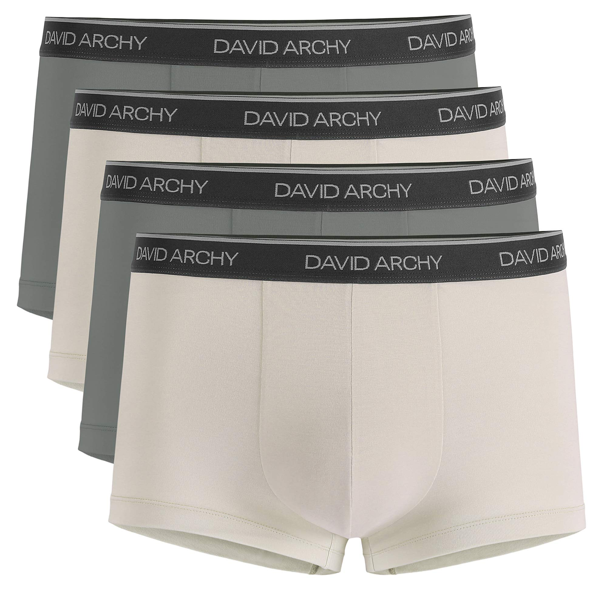 David Archy Men's 4 Pack Ultra Soft Comfy Breathable Bamboo Rayon Trunks Underwear No Fly (Gray/Khaki, L) by David Archy